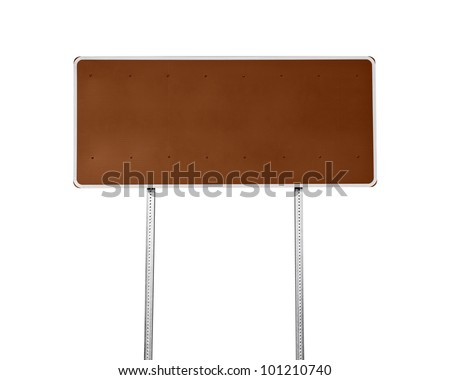 Blank brown highway sign isolated on white. - stock photo