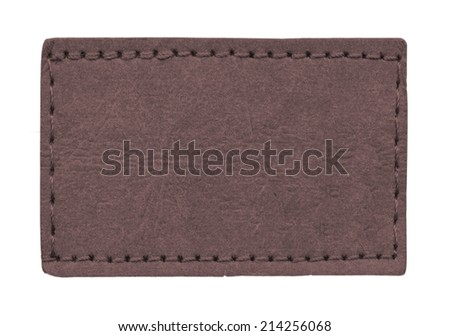 blank brown leather jeans label isolated on white background - stock photo