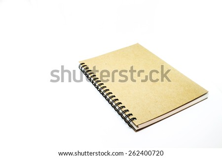 blank brown notebook on white background - stock photo