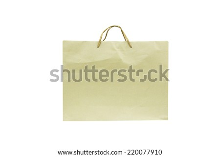 Blank brown paper bag isolated on white background