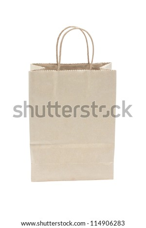 Blank brown paper shopping bag isolated on white background.