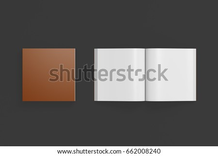 Blank brown square soft cover book with glossy paper on black background. Open and closed, isolated with clipping path around each book. 3d illustration