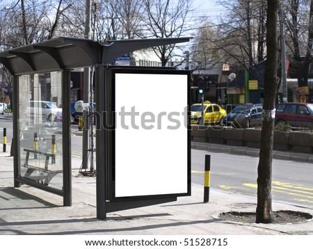 Blank Bus station billboard. - stock photo