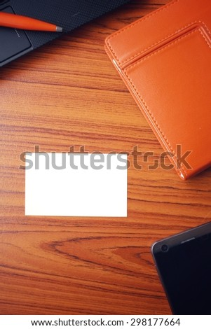 Blank business card at office - stock photo