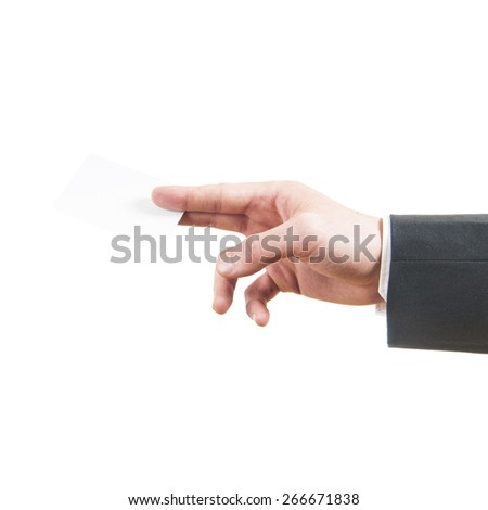 Blank business card in a businessman's hand - stock photo