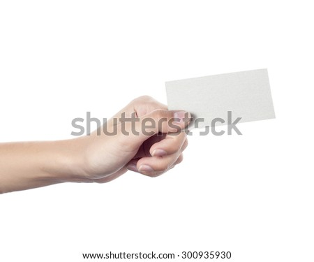 Blank business card in a female hand. Concept