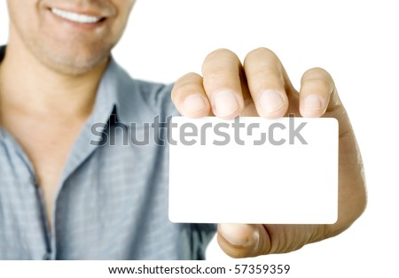 Blank business card in a hand - stock photo