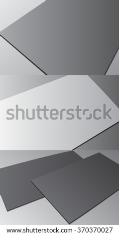 Blank business card with shadow template. Raster copy of vector file.