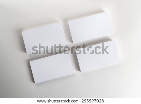 Blank business cards on the table. Template for ID. Top view. - stock photo