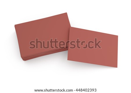Blank business cards on white background. Include clipping path. 3d render