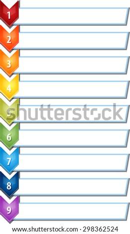 blank business strategy concept infographic chevron list diagram illustration nine 9 steps - stock photo
