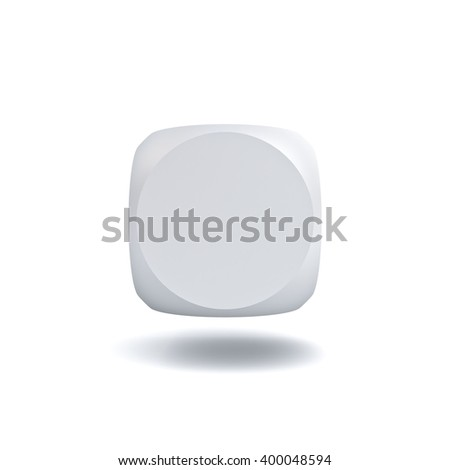 Blank button isolated on white background with shadow. 3D rendering. - stock photo