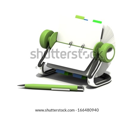 Blank calendar and pen (marker) on isolated white background