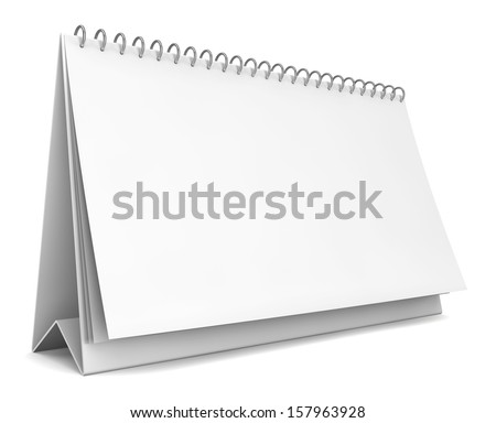 Blank calendar. 3d illustration on white background  - stock photo