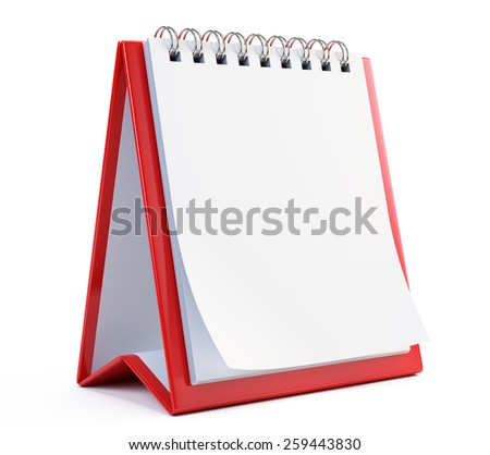 Blank Calendar isolated on white - stock photo
