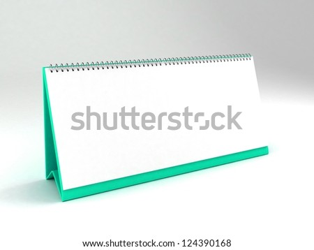 Blank calendar on isolated background. 3D illustration