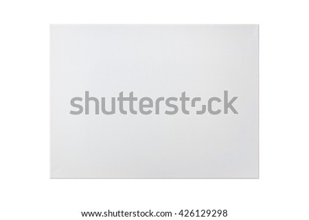 Blank canvas frame isolated on white background, clipping path included