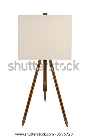 Blank canvas on an easel isolated on white