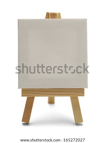 Blank Canvas on Easel Isolated on White Background.