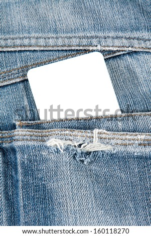 blank card in blue jeans pocket - stock photo