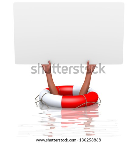 Blank card in drowning hands, concept of helping - stock photo