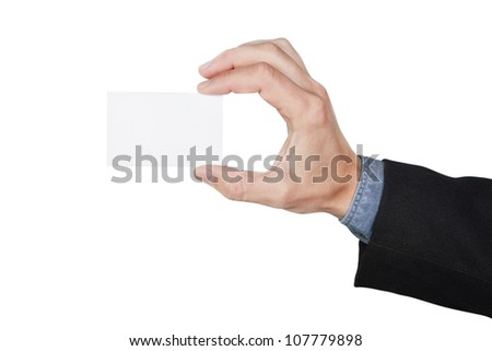 Blank card in hand at the man. On a white background. - stock photo