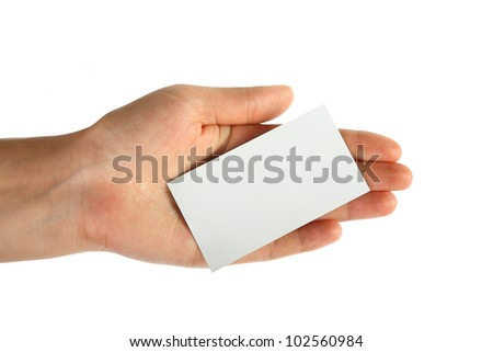 Blank card in hand on white background - stock photo
