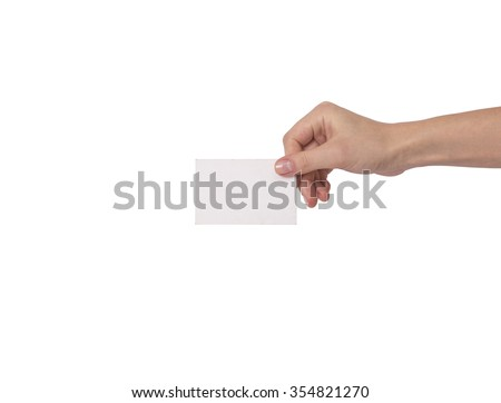 Blank card in hand on white background.