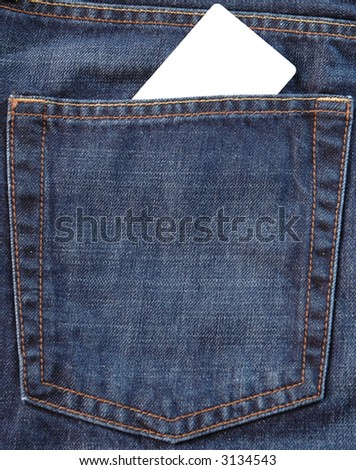 Blank card in jeans pocket on which you can write something