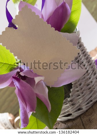 blank card in the magnolia arrangement