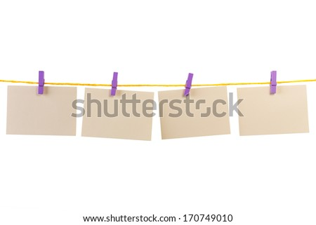 blank card on a clothesline