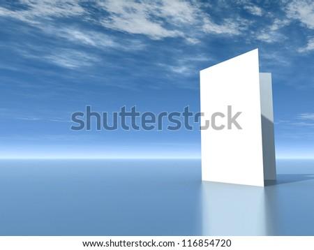 blank card under cloudy blue sky - 3d illustration - stock photo