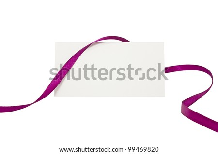 Blank card with pink ribbon isolated on white background - stock photo