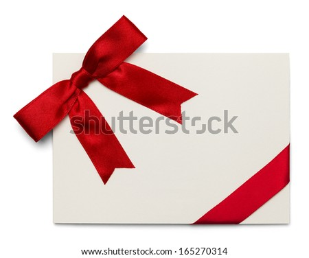 Blank Card With Red Bow and Ribbon Isolated on White Background. - stock photo