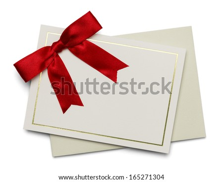 Blank Card with Red Ribbon and Envelope Isolated on White Background. - stock photo