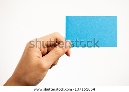 Blank card, Young woman holding card that can be replace with everything you want, namecard sign etc... shoot on isolated white background - stock photo