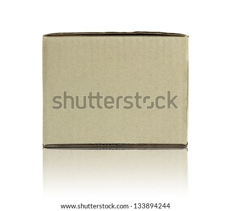 Blank cardboard box isolated on white background - stock photo