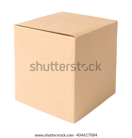 Blank cardboard box isolated on white background