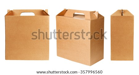 Blank cardboard boxes isolated on white background - stock photo