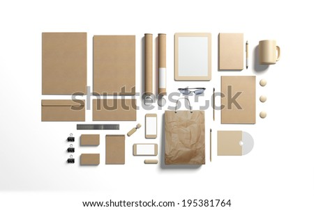 Blank cardboard branding elements to replace your design isolated on white - stock photo
