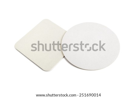 Blank cardboard coasters for beer on a white background. Round and square. Isolated with clipping path. - stock photo