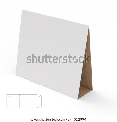 Blank Cardboard Display Stand with Die Cut Template - stock photo