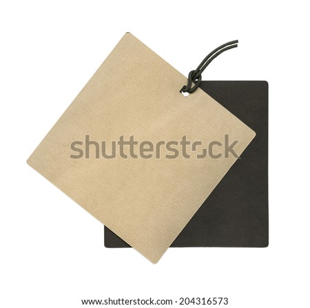 blank cardboard double tag on white background