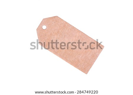 Blank cardboard label for prices and sales isolated on a white background - stock photo