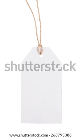 Blank cardboard label on a white background. - stock photo