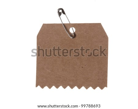 blank cardboard paper labels  isolated on the white background