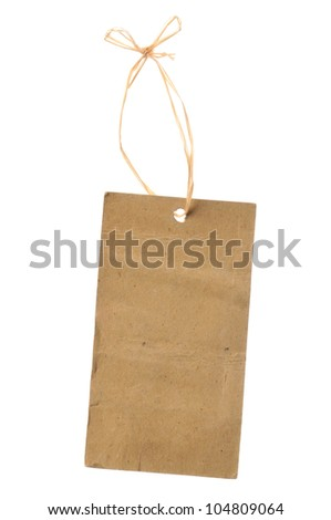 blank cardboard paper labels or tag with strings isolated on the white background