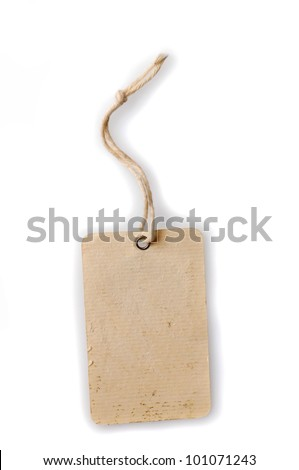blank cardboard paper labels with strings isolated on the white background
