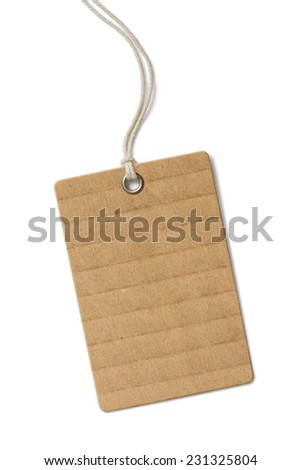 Blank cardboard price tag or label isolated - stock photo