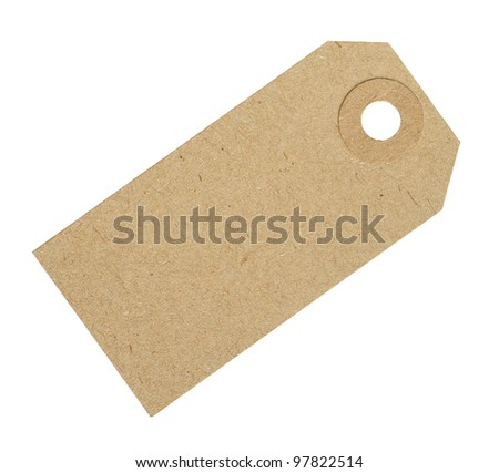 Blank Cardboard Tag Label Isolated on White Background - stock photo